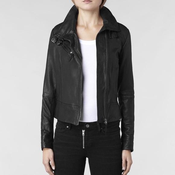 8dc4ce122 All Saints Belvedere Leather Jacket - Black